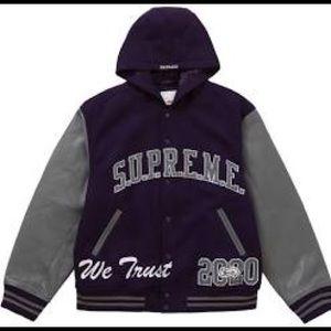 Supreme King Hooded Varsity Jacket Purple